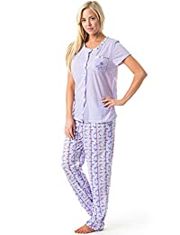 Casual Nights Women's Embroidered Floral Print Short Sleeve Pajama Set