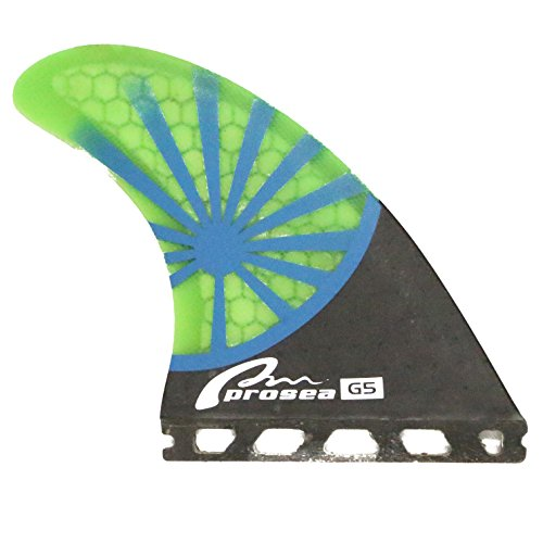Prosea Blue Sunshine Surboard Fins Future Base Medium Size Surfing Thrusters G5 Size made of Carbon Fiberglass and Honeycomb with 1 Key & 6 Screws