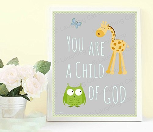 Cute Baby Print, Child of God Nursery Decor, Children's Bible Jesus Quote Art, Catholic Christian Decor for Kids room decor, Toddler art by Laughing Cat Workshop