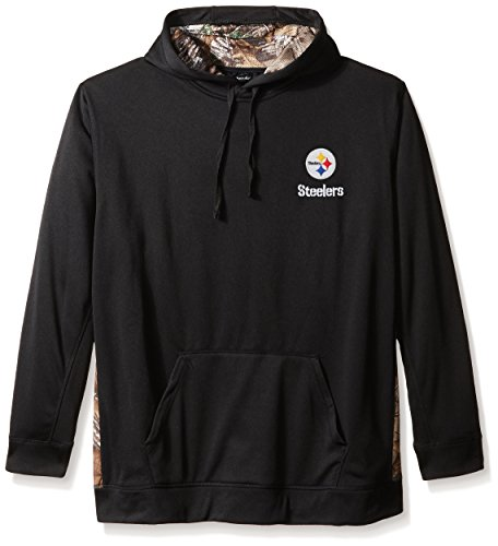Dunbrooke Apparel NFL Pittsburgh Steelers Men's 5436.0Ranger Camo Accent Tech Hoody, Black with Camo, (Pittsburgh Steelers Mens Jackets)