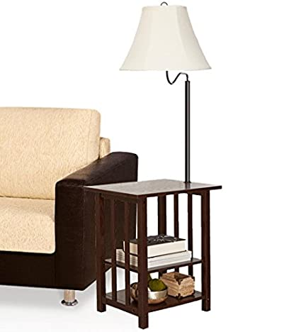 Lamp Table Combination Floor Lamp Table With Shelves And Swing Arm