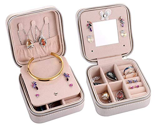 Earring Gift Boxes Leather (Csinos Portable Jewelry Case Travel Earring Ring Necklace Accesories Organizer Box with Zipper (Silver))