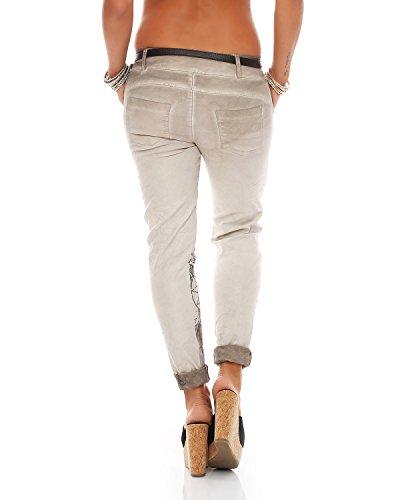 Zarmexx Baggy Jeans Boyfriend Ladies 10912 stampa Letter Chinos Beige Jeggings Pants Stretch fantasy 4rxrEq