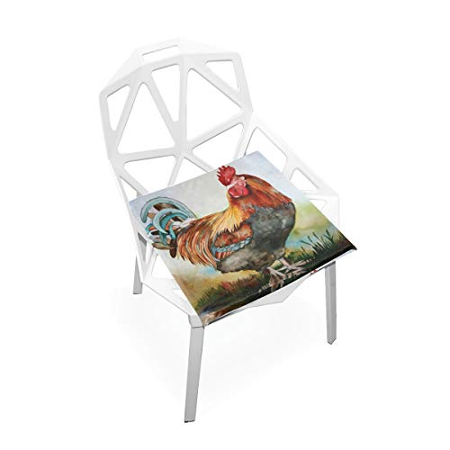 (TSWEETHOME Comfort Memory Foam Square Chair Cushion Seat Cushion with Watercolor Rooster Chair Pads for Floors Dining Office Chairs)