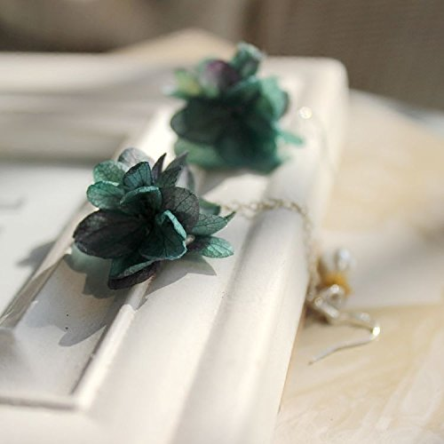 (usongs Custom emerald green forest department asymmetric fashion earrings eternal life preserved flower flower ear jewelry accessories holiday pictures)