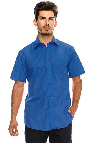 JC DISTRO Men's Regular-Fit Solid Color Short Sleeve Dress Shirt, RoyalBlue Shirts (M) ()