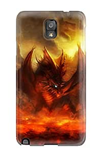 Ultra Slim Fit Hard Empty Spiral Case Cover Specially Made For Galaxy Note 3- Dragon Lava