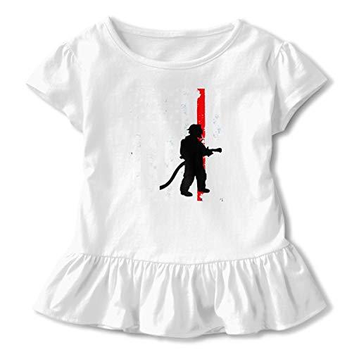 Aloahh Firefighter Firefighting US Flag Toddler Baby Girls Dress Cozy Ruffles T-Shirt Short-Sleeved for 2-6T White ()