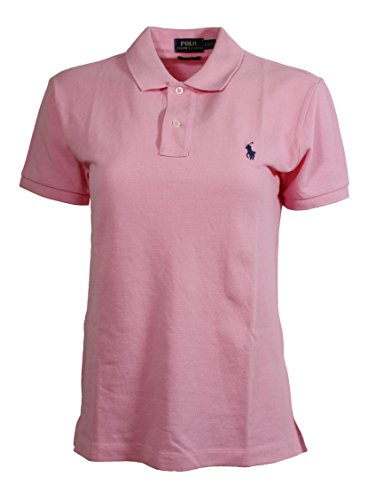 Polo Ralph Lauren Women's Classic Fit Mesh Polo Shirt (X-Large, Hrtg Pink (Navy - Ralph Women Polo