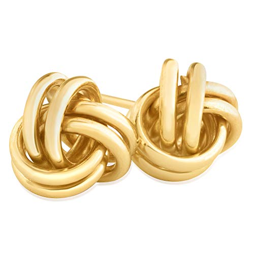 14KT Yellow Gold Love Knot Fashion Earrings for Women, 7mm - Comfortable and Secure Stud Closure ()