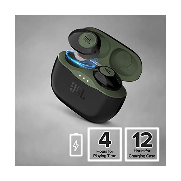 JBL Tune 120TWS by Harman True Wireless in Ear Headphones with 16 Hours Playtime, Stereo Calls & Quick Charge (Green) 2021 August 16 Hours of Combined playtime (4 Hrs on earbuds & 12 Hrs on charging case)under optimum audio settings 15 minute quick charge gets an additional 1 hour of music playback Hands-free Stereo Calls