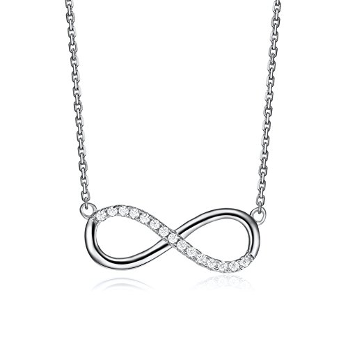 Serend Infinity Necklace Lucky Number 8 Pendant Link Chain Silver/White,Valentines Day Gifts - Style Tiffany Pave