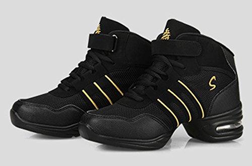 VECJUNIA Damen Athletische Modernen Turnschuhe Atmungsaktiv Jazz Mesh Dance Schuhe Gold