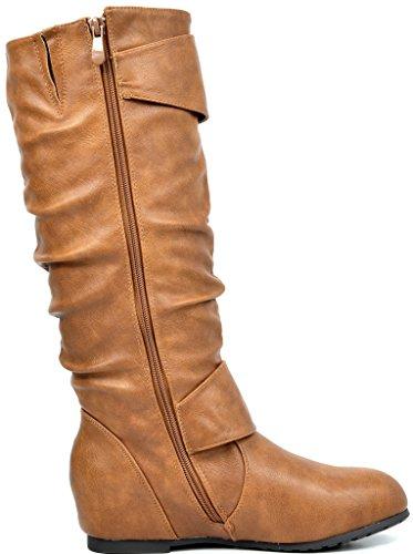TRAUM-PAAR-Frauen Kniehohe niedrige versteckte Keilstiefel (breites Kalb verfügbar) Ura-Kamel
