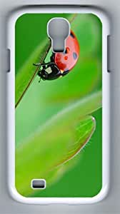 Ladybug on a leaf PC Hard Case Cover For Samsung Galaxy S4 SIV I9500 Case and Cover White