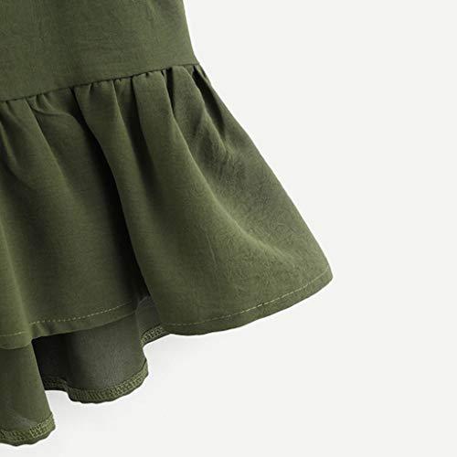 nbsp;ourlet Manches Imjono Petit Fille Femmes Doux Boutonnage Hauts Débardeur shirt Top Camisole Couleur Sans Ébouriffer T Unie Frais Simple Casual Crop Vert Mode In7X7rR