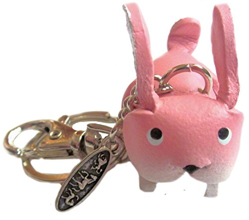 Leather Keyring Fob Pink Bunny Charm - Keychain Holder, Key, Chain, Ring - Personalized Animal Gifts for Men Women Dad Friends Style Item 2016