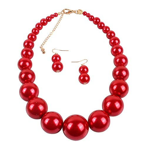 - HSQYJ Simple Large Big Simulated Pearl Statement Necklace Earring Set Faux Big Pearl Choker Drop Dangle Hook Earring Fashion Costume Jewelry for Girl Women Lady (Red)