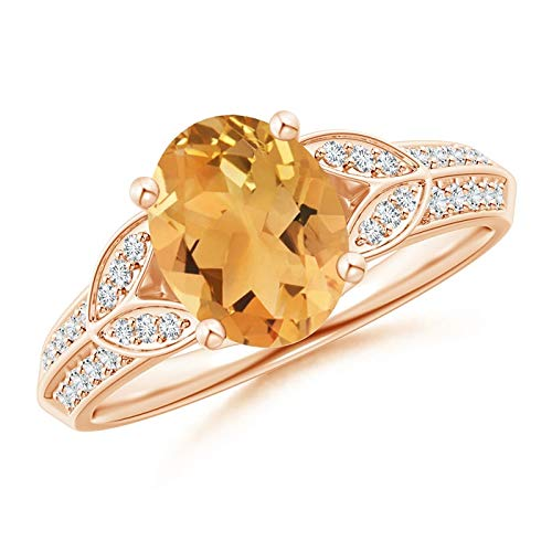 Citrine Knife - Knife-Edged Oval Citrine Solitaire Ring with Pave Diamonds in 14K Rose Gold (9x7mm Citrine)