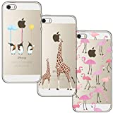 [3 Pack] iPhone 5 Case, iPhone 5S Case, iPhone SE Case, Shumeifang Ultra Thin Soft Gel TPU Silicone Case Cover with Cute Cartoon for Apple iPhone 5 / 5S / SE - Flamingo & Giraffe & Penguin