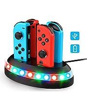 Thiroom Stazionamento di Ricarica per Nintendo Switch Joy-Con,Dock di Ricarica con Indicazione LED,Caricabatterie Supporta Joy-Con 4 in 1 (non includere Joy-Con)