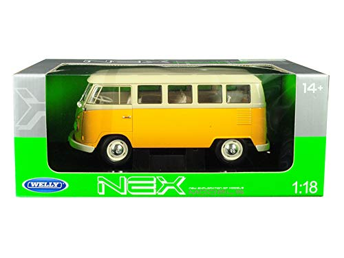 1963 Volkswagen T1 Microbus Yellow and Cream 1/18 Diecast Model by Welly 18054