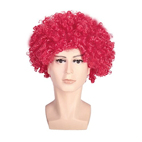 Multifit Unisex Disco Halloween Colourful Party Curl Wigs Mardi Gras Wig Fan Wig Afro Clown Costume for Teens and -