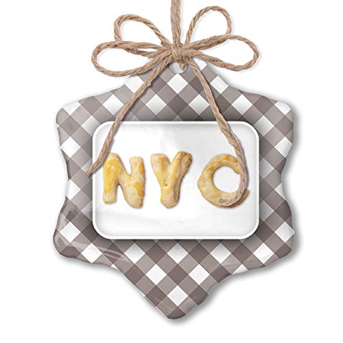 NEONBLOND Christmas Ornament NYC Cookie Grey White Black Plaid (Best Nyc Black And White Cookies)