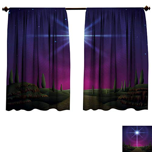 homehot Room Darkening Curtains for Bedroom Star of Bethlehem Drapes Panels W63 x -