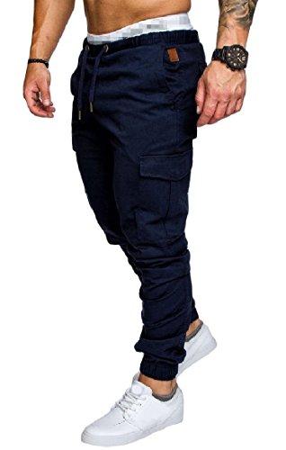 Abetteric Mens Skinny Multi Pockets Solid Elastic Waist Draw