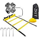 ZHIY Speed Agility Training Kit,Includes Sports Ladder Train Cones,Carrying Bag, 5 Disc Cones, Resistance Parachute,Football Volleyball Baseball Training Use Equipment to Improve Footwork Any Sport.