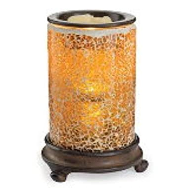 Candle Warmers Etc. Crackled Amber Glass Mosaic Illumination Fragrance Warmer