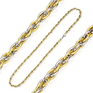 316L Stainless Steel Tri-Link Two Tone IP Gold Colored Chain - Length 24