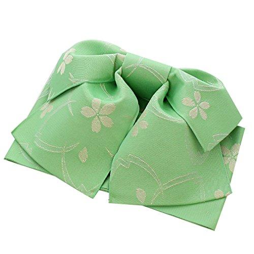 先駆者湿度ホテル(キステ) Kisste 作り帯 浴衣用 ポリエステル100% <黄緑/桜> 日本製 5-8-03543