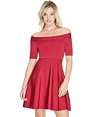 Guess Women's Off Shoulder Half Sleeve Mirage Dress