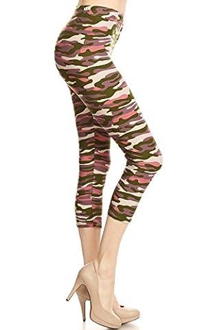 ED Women's Regular Cropped CAPRI Leggings - Tribal Skull Animal Aztec Camo American Flag Star Stripe (Pink Olive Camo)