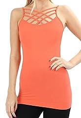 Re.Born Womens CrissCross Lattice Front Round Neck Seamless Cami Camisole Tops Multi Pack [S-3XL]