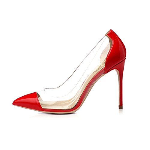 Rouge 10cm Chaussures Verre Noir Couleur Femmes Hauts Femmes Cour Mesdames Transparent Cut Pointu Mixte Shallow Caoutchouc Chaussures Stilettos Talons Sexy Red qxxRtOU