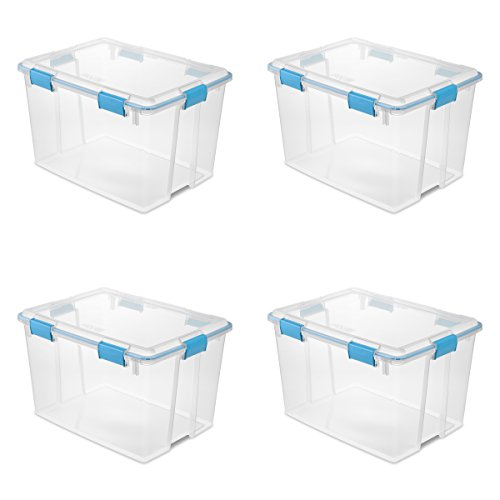 Sterilite 19384304 80 Quart/76 Liter Gasket Box, Clear Lid & Base w/ Blue Aquarium Latches & Gasket, 4-Pack
