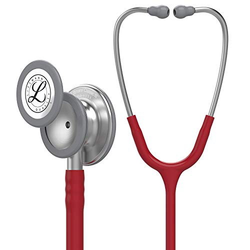 3M Littmann 5627 Classic III Stethoscope Stainless Steel Finish Chestpiece, 27 Inch, Burgundy Tube
