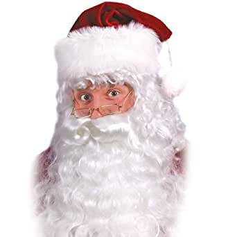 Fun World Costumes Men's Quality Santa Beard and Wig Set, White, One Size