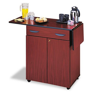 Safco® - Hospitality Service Cart, 1-Shelf, 32-1/2w x 20-1/2d x 38-3/4h, Mahogany - Sold As 1 Each - Serving area expands to 56