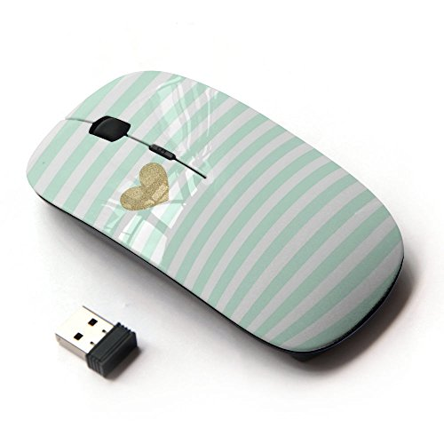 KOOLmouse [ Optical 2.4G Wireless Mouse ] [ Green Mint Gold Heart Love Stripes White ]