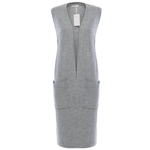 Roshes Boutique Womens Pockets Long Sweater Vest Cardigan, Gray, Small by Roshe's Boutique