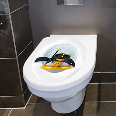 """Wandkings Toilet Lid Decal """"Penguin with Lifesaver""""- 11.8 x 15.7 inch"""