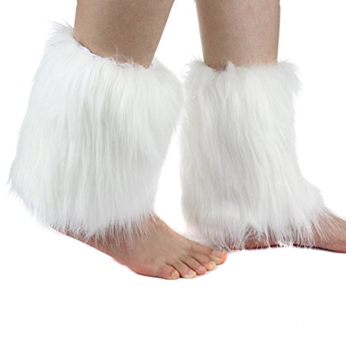 (ECOSCO One Pair Women Faux Fur Soft COZY FUZZY Boots Shoes Cuffs Leg)