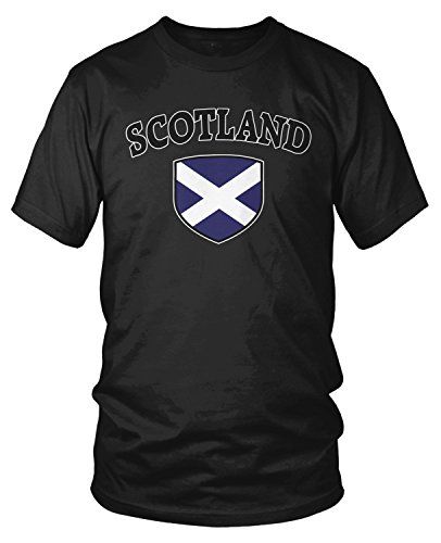 (Amdesco Men's Scotland Flag Shield, Scots Scottish Pride T-Shirt, Black 3XL)