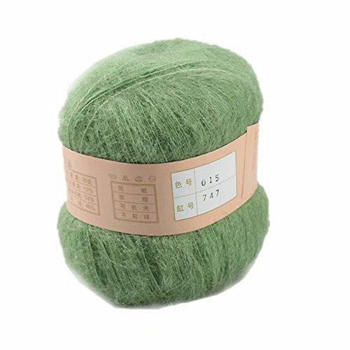 Celine lin One Skein Soft&Warm Angola Mohair Cashmere Wool Knitting Yarn 50g,Grass - Grass Mohair