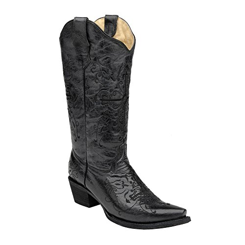 Corral Women's L5060 Cross Embroidery Black Snip Toe Western Boots 7.5 M