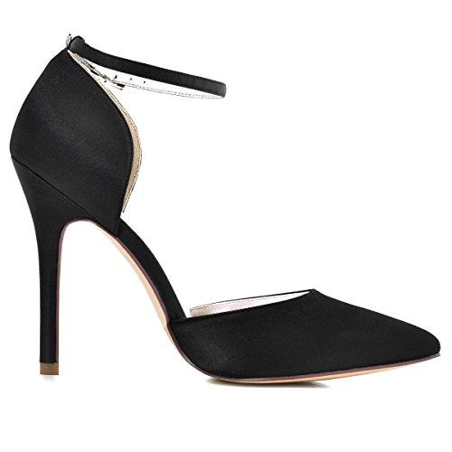 Hc1602 Sangle Noir De Cheville Chic Elegantpark Chaussures Ceremonie Haut Escarpins Aiguille D'orsay Femme Mariee Talon Bout Satin Pointu qXdTRwp